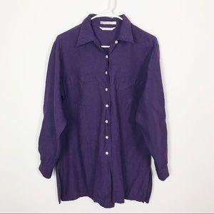 Club Monaco Linen Top Purple Tunic Oversized Long